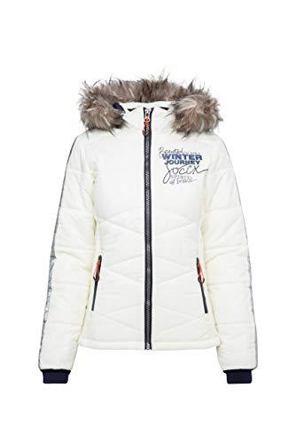 SOCCX Damen Winterjacke im Ski-Look mit Kontrastkapuze
