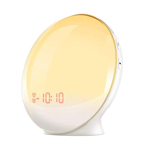 Sunrise Alarm Clock Wake Up Light Sleep Aid 7 Colored Sunrise Simulation FM Radio