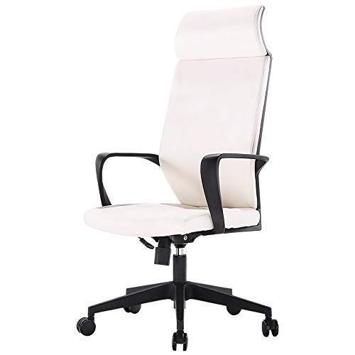 Hoogte verstelbaar PU Leather Manager bureaustoel met Torsion Control, Thuis Office Chair Boss Stoel, Supervisor Stoel, Staff Stoel Ergonomische Stoelen - Zwart (Color : White)