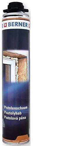 Berner 1-K Pu-Pistolenschaum 750ml Qualitäts Fenster-Bau-Schaum *****Montageschaum für Fenster Zargen Fensterbänke Kühlwagen Kühlraumbau Schalldämmung Mauerdurchbrüchen Dachausbau*****