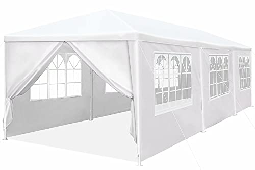 10'x30' Heavy Duty Canopy Gazebo Outdoor Party Wedding Tent Pavilion with 6 Removable Side Walls