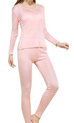 Fashion Silk Women's Silk Thermal Underwear Sets | Silk Long Johns for Women | Silk Long Underwear Sets?Large, Pink