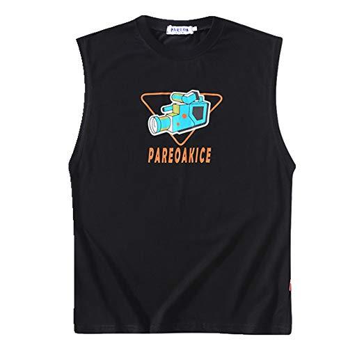 CZYTN - Camiseta de verano sin mangas para hombre, estampado de algodón Negro Negro ( M