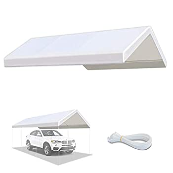 YardGrow 10 x 20-Feet Carport Replacement Top Canopy Cover for Tent Garage Shelter with Cable Ties Cords White  Only Cover Frame Not Included