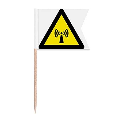 Warnsymbol Gelb Schwarz Strahlung Dreieckige Zahnstocher Flaggen Kennzeichnung für Party Kuchen Lebensmittel Käseplatte