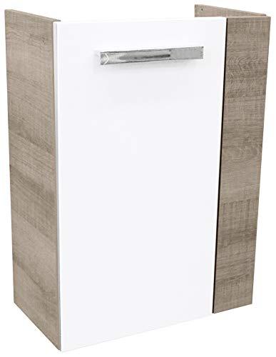 FACKELMANN Mini-Waschtischunterschrank A-VERO / gedämpfte Scharniere / Maße (B x H x T): ca. 44 x 60 x 24 cm / hochwertiger Schrank fürs Bad / Korpus: Braun hell / Front: Weiß / Blende: Braun hell