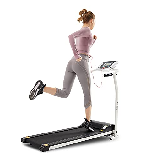 LONTEK Treadmill Electric for Home Foldable, Running Machine Motorised Folding with Incline for Home Use, Heart Rate Monitor, 1-10kmh, 4inch LCD Screen, 1.5HP DC,12 Programs, 198lb(90kg)
