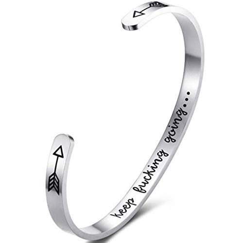 JUDE Stainless Steel Keep Going Inspirational Mantra Statment Cocktail Party Graduation Sports Bangle Bracelet (Silver, Stainless Steel)