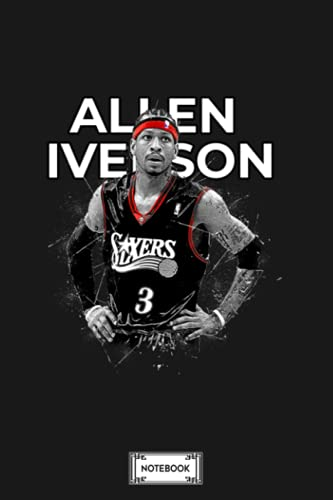 Allen Iverson Notebook: Diary, Matte Finish Cover, Planner, Journal, Lined College Ruled Paper, 6x9 120 Pages