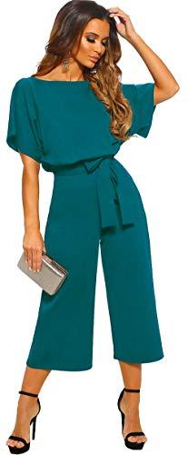 Longwu Mujeres Casual Elegante Cintura Alta Mono de Manga Corta Pantalones de Pierna Ancha Ocasionales Mamelucos Sueltos con cinturón Lago Azul-L