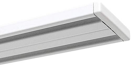 Garduna 360cm Gardinenschiene Vorhangschiene, Aluminium, Weiss, Glatte, glänzende Oberfläche, (2-läufig oder 1-läufig, Wendeschiene)