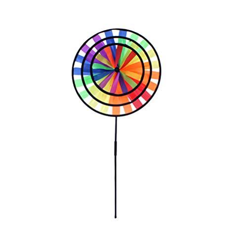 BESPORTBLE Blume Windmühle Garten Bunte Runde Windrad Kinder Pädagogisches Spielzeug Regenbogen Rasen Hof Balkon Kindergarten Im Freien Dekoration