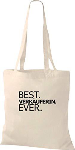 Shirtstown - Sacchetto in stoffa con scritta 'Best Verkäuferin Ever' [in lingua straniera], colore naturale
