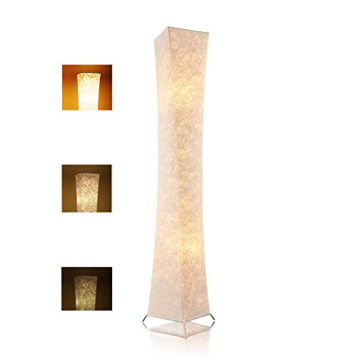 LEONC Design 65'' Creative LED Floor Lamp, Softlighting Minimalist Modern Contemporary with Fabric Shade & 2 Bulbs Floor Lamps for Living Room Bedroom Warm Atmosphere(Tyvek Dupont 10 x 10 x 65 inch)