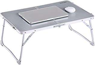 Foldable Laptop Table, SUPERJARE Bed Desk, Breakfast Serving Bed Tray, Portable Mini Picnic Table & Ultra Lightweight, Folds in Half with Inner Storage Space - Silver Gray