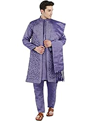 SKAVIJ Mens Art Silk Traditional Kurta Pajama - Set of 4 (Kurta, Pajama, Dupatta and Jacket)