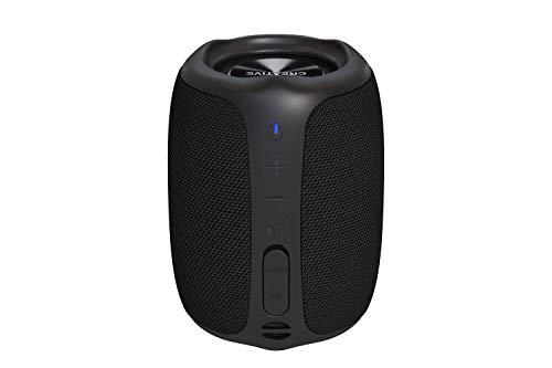 Creative MUVO Play – Portabler Bluetooth-5.0-Lautsprecher, wassergeschützt für den Außenbereich nach IPX7, bis zu 10 Stunden Akkulaufzeit, mit Siri- und Google- Assistent (Schwarz)