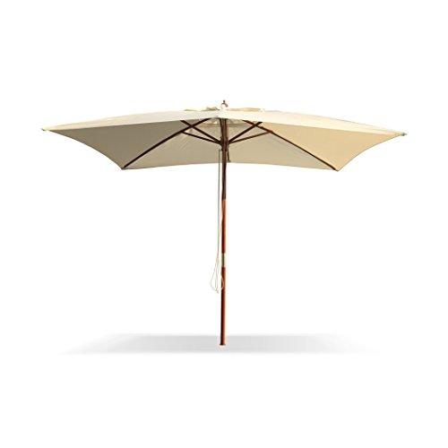 Ombrellone da giardino Elba in legno con palo centrale e carrucola 3 x 3 metri ombrellone in legno