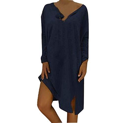 Damen Kleider Sommer Ärmelloses V-Ausschnitt Bedruckt Weste Sexy Kleider Plus Size Boho Strandkleid Blumendruck Nähte Kleid Polyester lässig Baggy Kleid (EU:48, Marine)