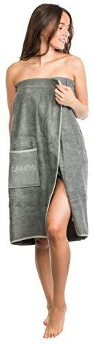 Brandsseller Damen Saunakilt Saunasarong S-XXL mit Klettverschluss, Gummizug und Tasche 100% Baumwolle - Grau