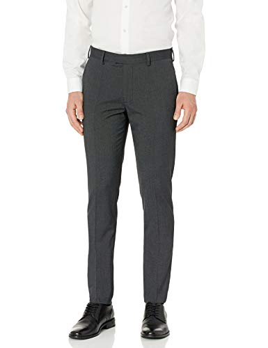 AXIST Men's Flat Front Very Slim Fit Nailshead Dress Pant, Jet Black, 31×30