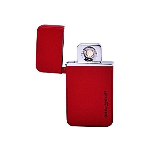 Silver match–Encendedor USB éléctronique recargable Design, elegante y delgada con caja de regalo–Mechero cortavientos sin gas, sin llama ni líquido–Metal plateado–rojo