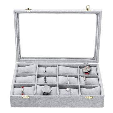 RanDal 12 Grids Jewelry Storage Box Watch Display Box Velvet Watch Storage Box 35Cm*24Cm*7Cm - Silver+White