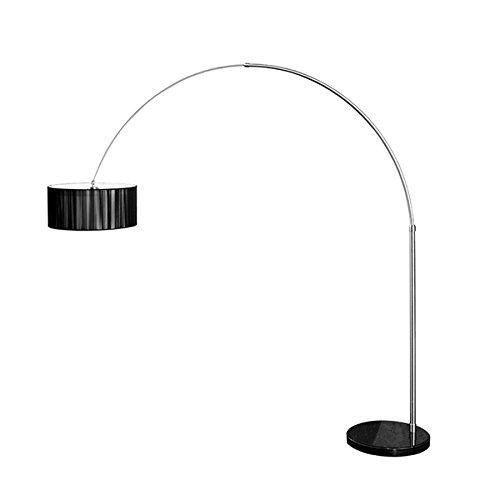 Design Bogenleuchte EXTENSO Stoffschirm in schwarz Stehleuchte mit schwarzem Marmorfuß Bogenlampe Wohnzimmer Beleuchtung