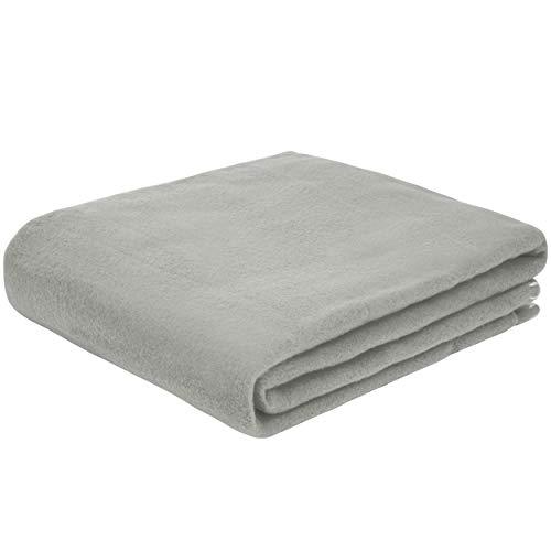 Slabo hochwertige Fleecedecke Fleece-Decke ca. 130x160 cm mit Kreuzstich in weiß   Ideal für Innen- und Außenbereich   Kuscheldecke   Sofadecke   Couchdecke   Tagesdecke   Wohndecke   Decke - GRAU
