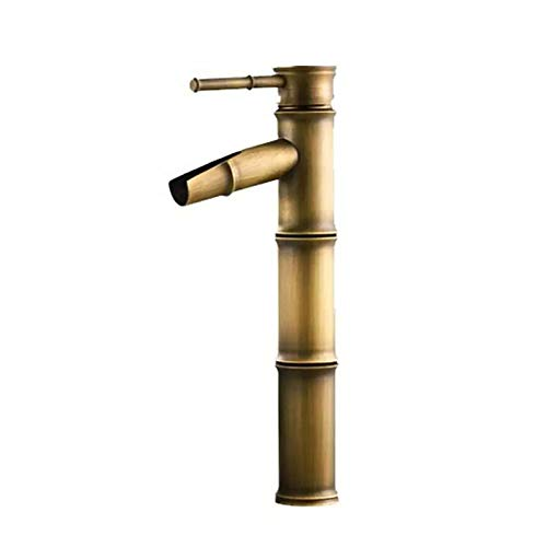 SUNMM Cascada Baño Lavabo Grifo Mezclador Monobloque de Latón Estilo de Bambú como Caliente y Fría Grifo (Tamaño : High)