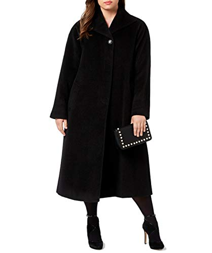 Jones New York Women's Plus Size Wool Blend Maxi Walker Coat, Black, 16W