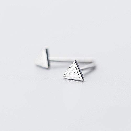 Pendientes de tuerca unisex de plata de ley 925, triángulo geométrico, para hombres, joyería de moda, regalo