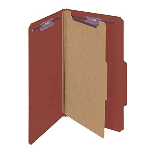 """Smead Pressboard Classification File Folder with SafeSHIELD Fasteners, 1 Divider, 2"""" Expansion, Legal Size, Red, 10 per Box (18775)"""