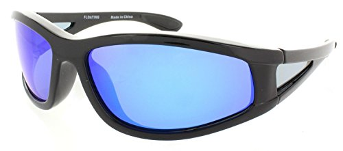 Fiore Polarized Floating Sunglasses for Fishing, Boating and Water Activities (Black-Blue RV)