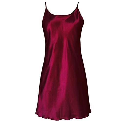 YOURPAI Nachthemd, 2018 vrouwen satijnen nachthemd sexy lotus zoom slingerjurk chemise mini nachthemd wijn rood 3XL