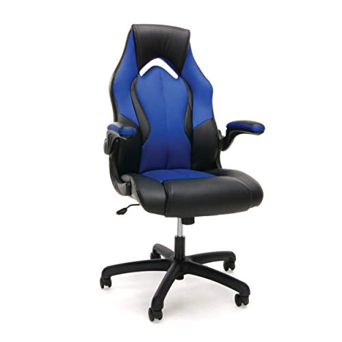 Essentials Racing Style Leather Gaming Chair - Ergonomic Swivel Computer, Office or Gaming Chair, Blue (ESS-3086-BLU) (Renewed) blue chair gaming