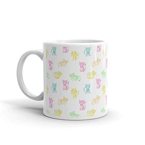 Dozili Grappige Koffie Mok - Katten Naadloos Patroon Achtergrond Print Baby Kleding Kind Inpakpapier Behang Eps10 Kat Keramische Koffie Mok Beker, 11 Oz, Wit
