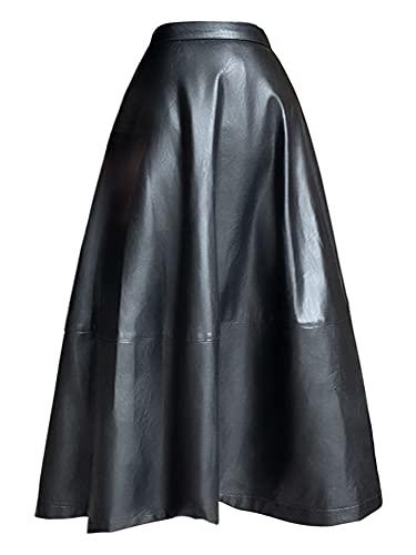 Vestidos de Mujer Falda De Cuero Largo De Cintura Alta Mujeres con Botón A Línea Negro Tallas Midi Soft Soft Faux Faldas para Mujeres Vestido de Novia Zzib (Color : Schwarz, Size : Large)