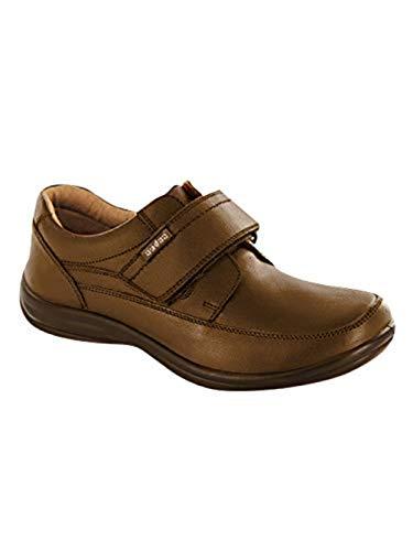 Audaz Zapatos Escolares para Niño Fabricados en Piel Color Café con Ajuste De Velcro 18