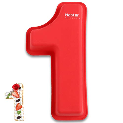 3D Large Silicone Number Cake Moulds,Birthday and Wedding Anniversary Day Silicone Baking Pans,rectangle novelty cake Tins oblong cake board 10 inch,Number of 1.