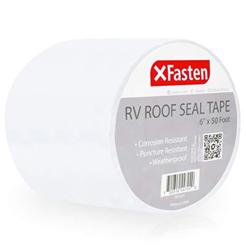 XFasten RV Seal Repair Tape, Waterproof, 6-Inches x 50-Foot, Weatherproof RV Rubber Roof Patch Tape for RV Repair, Window, Vent, Boat Sealing, and Camper Roof Leaks