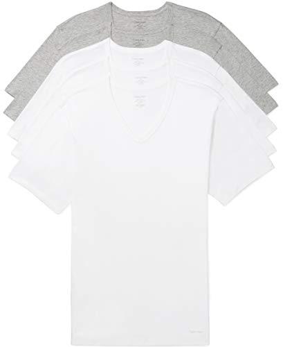 Calvin Klein Men's Cotton Classic Slim Fit V Neck T-Shirts, 3 White/2 Grey Heather, M