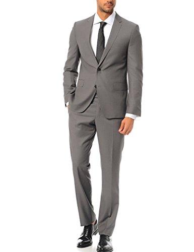 keskin collection Herren Anzug Slim Fit Schwarz Grau Hellgrau Modell 2019 Schwarzer Anzug (102, Grau)
