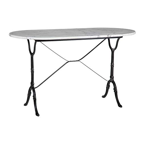 Mesa de Comedor Oval de mármol y Metal Vintage Blanca y Negra de 71x60x120 cm - LOLAhome