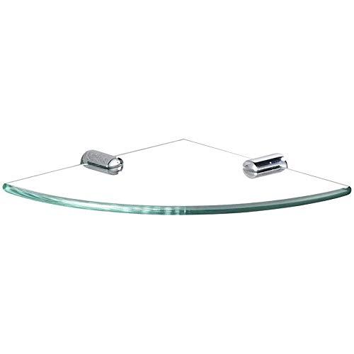 Cesta de esquina de acero inoxidable para baño de una sola capa, estante de vidrio para ducha de baño de cristal de estilo moderno para almacenamiento de baño