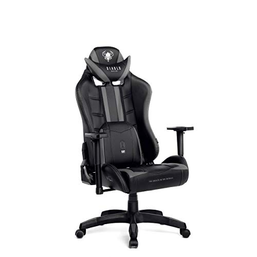 Diablo X-Ray Gaming Stuhl Bürostuhl Kinderstuhl Schreibtischstuhl 4D Armlehnen Ergonomisches Design Kunstleder Perforation Wippfunktion (schwarz-schwarz, Kindergröße)