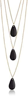 Dama Teardrop Shaped Pendants Layered Necklace for Girls - Black and Gold