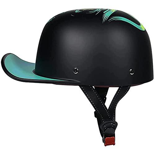 Summer Baseball Cap Motorcycle Half Helmet DOT Certified German Style Black Skull Cap for All Seasons Retro Open-Face Women's Men's Street Cruiser Jet Style Scooter Chopper ATV