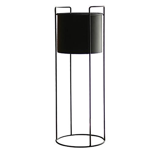 Jeseca Gartenregal, Nordic Floor Standing Iron Art Blumentopfhalter, Indoor Wohnzimmer Dekoration Regal, Schwarz (Color : Black, Size : 23x65cm)