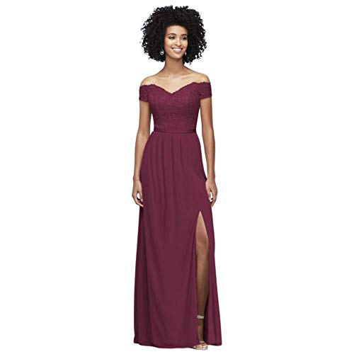 Off-The-Shoulder Lace and Mesh Bridesmaid Dress Style F19950, Wine, 16